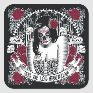 Day of the dead woman sticker richard legarreta