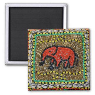 Dayak Elephant Native Tribal Art Square Magnet