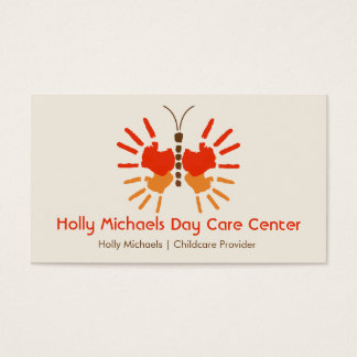 Daycare / Babysitter Butterfly Handprints Business Card