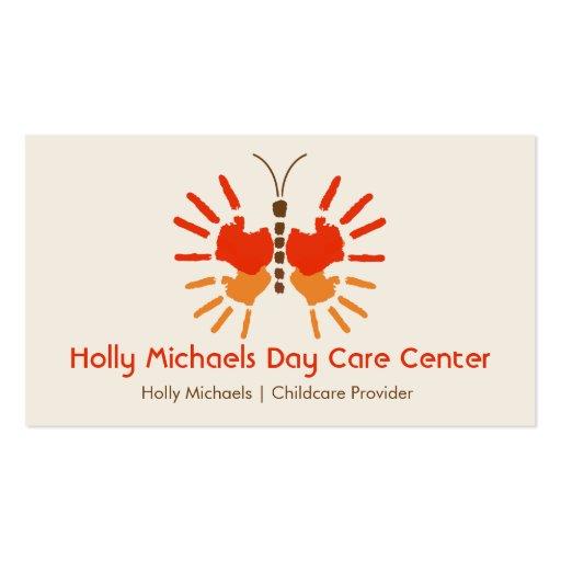 Daycare / Babysitter Butterfly Handprints Business Card
