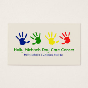 Babysitting business cards business card printing zazzle uk daycare babysitter handprints business cards colourmoves