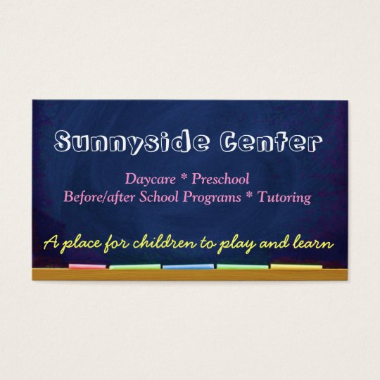 Daycare Childcare Chalkboard Business Card