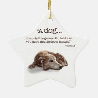 Daydreaming Dog Ceramic Star Decoration