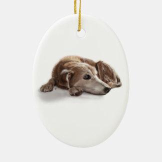 Daydreaming Dog Illustration Ceramic Oval Decoration