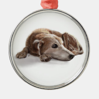 Daydreaming Dog Illustration Silver-Colored Round Decoration