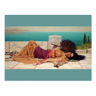 Daydreaming Greek Lady by Godward Post Cards