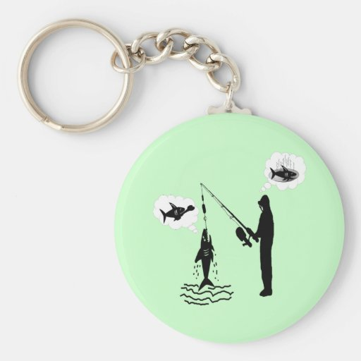Daydreaming While Fishing Basic Round Button Key Ring