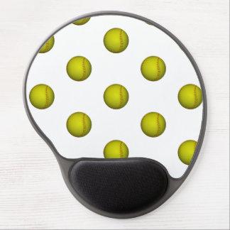 Dayglo Yellow Softball Pattern Gel Mouse Pad