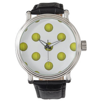 Dayglo Yellow Softball Pattern Watch