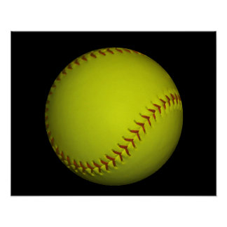 Dayglow Yellow Softball Poster