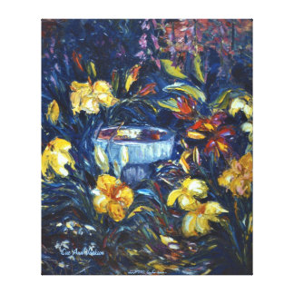 Daylilies and a Birdbath Gallery Wrapped Canvas