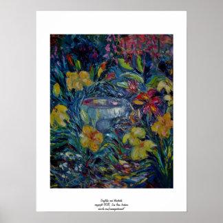 Daylilies and Birdbath Print