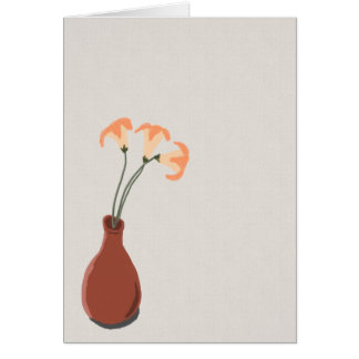 Daylilies in a Red Vase Note Card