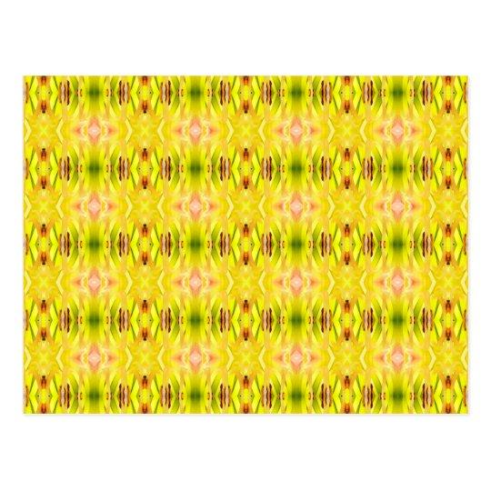 Daylily Abstract Pattern Yellow Postcard