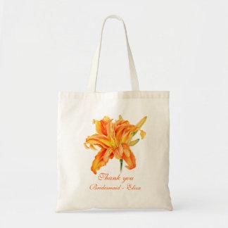 Daylily fine art wedding bridesmaid name bag