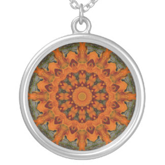 Daylily Orange Mandala Silver Plated Necklace