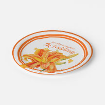 Daylily orange watercolor art custom paper plates 7 inch paper plate