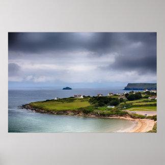 Daymer bay beach landscape in Cornwall UK Print