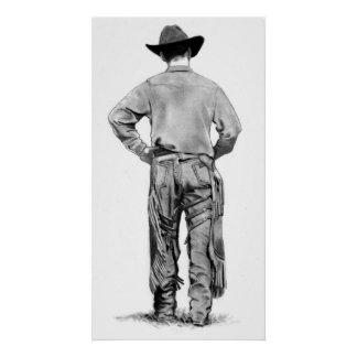 Day's End: Pencil Drawing of Cowboy with Chaps Poster