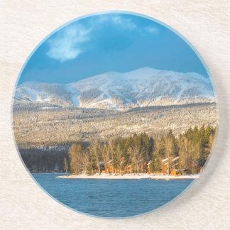 Days Last Light Shines On Ski Runs Of Whitefish Beverage Coaster