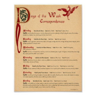 DAYS of the WEEK CORRESPONDENCES Poster