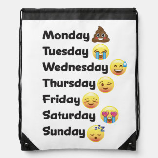 Days of the Week Emoji Drawstring School Sport Bag