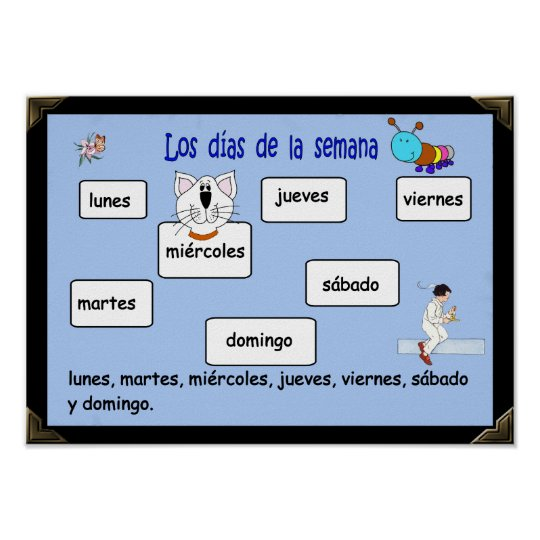 Days of the Week in Spanish Classroom Poster