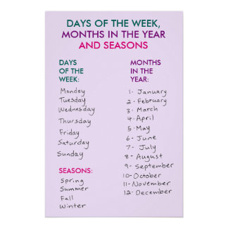 Days of the Week, Months in the Year & Seasons v3 Poster