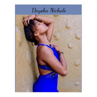 Daysha Nichole, in blue dress, postcard