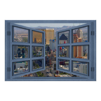 Daytime Las Vegas Strip 6 Pane Open Window Poster