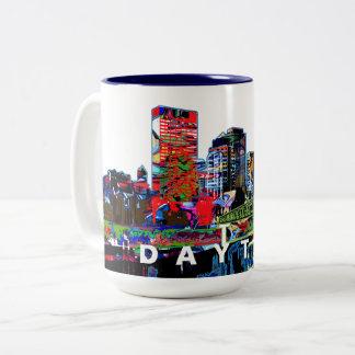 Dayton in graffiti Two-Tone coffee mug