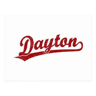 Dayton script logo in red postcard