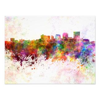 Dayton skyline in watercolor background art photo