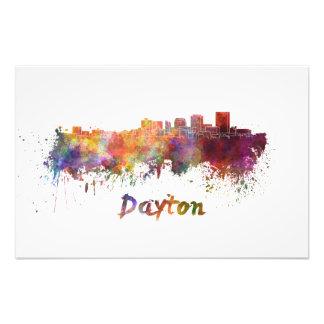 Dayton skyline in watercolor photo