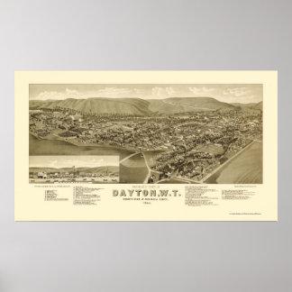 Dayton, WA Panoramic Map - 1884 Poster
