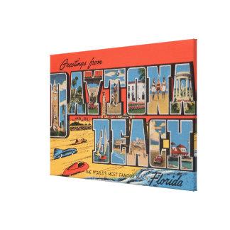 Daytona Beach, Florida - Large Letter Scenes Canvas Print