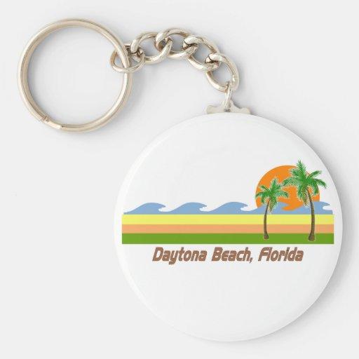 Daytona Beach Florida RETRO Tshirt Basic Round Button Key Ring