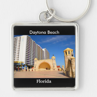 Daytona Beach Florida Silver-Colored Square Key Ring