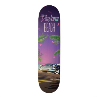 Daytona Beach Vintage Car Travel poster 21.6 Cm Old School Skateboard Deck