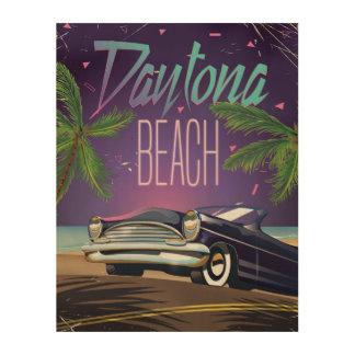 Daytona Beach Vintage Car Travel poster Wood Prints