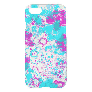 Daytrip Vintage Psychedelic Floral - Clear- Turq iPhone 7 Case