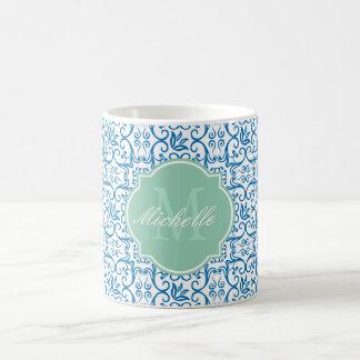 Dazzling Blue Damask Monogram Mug