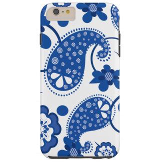 Dazzling Blue | White Chic Paisley Pattern Tough iPhone 6 Plus Case