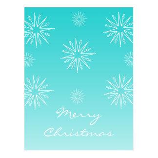 Dazzling Christmas Stars Postcard, Turquoise