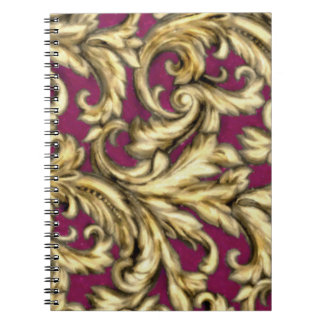 Dazzling Damask Gold and Pink Notebook