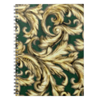 Dazzling Damask Green and Gold Spiral Note Book