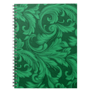 Dazzling Damask Green Spiral Note Books