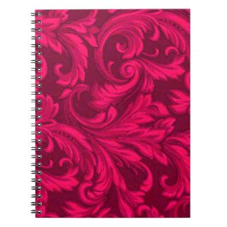 Dazzling Damask Hot Pink Spiral Note Books