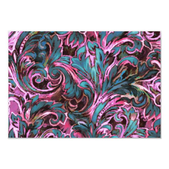 Dazzling Damask Pink Teal Brown Reply Card