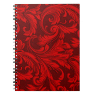Dazzling Damask Red Notebooks